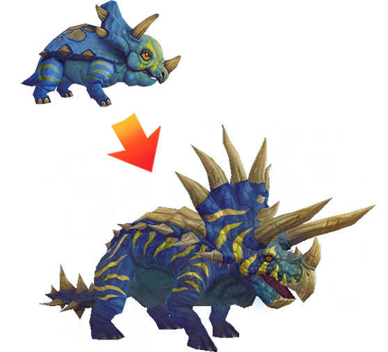 Pygmy Direhorn into Colossal Direhorn