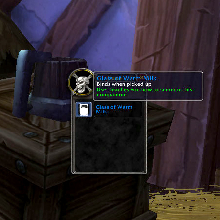 Glass of Warm Milk inside Alliance garrison