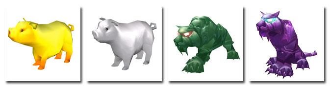 Golden Pig, Silver Pig, Jade Tiger, Zipao Tiger
