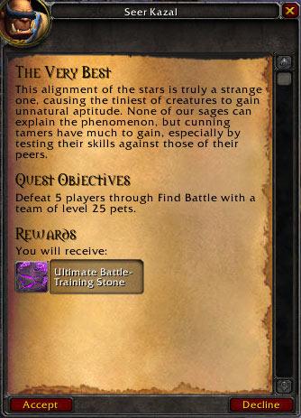 Pet Battle Bonus Event PVP quest